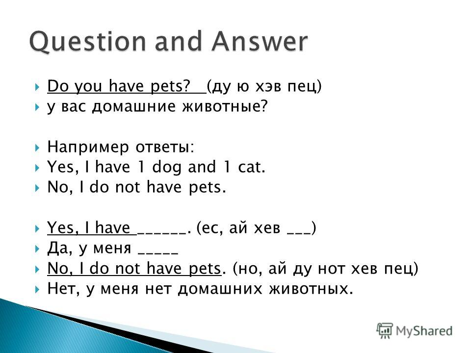 Do you have pets? (ду ю хэв пец) у вас домашние животные? Например ответы: Yes, I have 1 dog and 1 cat. No, I do not have pets. Yes, I have ______. (ес, ай хев ___) Да, у меня _____ No, I do not have pets. (но, ай ду нот хев пец) Нет, у меня нет дома