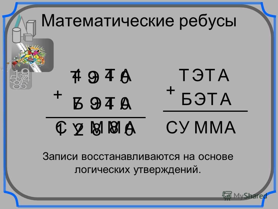 Математические ребусы ТЭ Т А А ТЭБ С 2 ММ А + 0 0 0 4 4 4 8 8 9 97 1У ТЭТА АТЭБ СУММА + Записи восстанавливаются на основе логических утверждений.