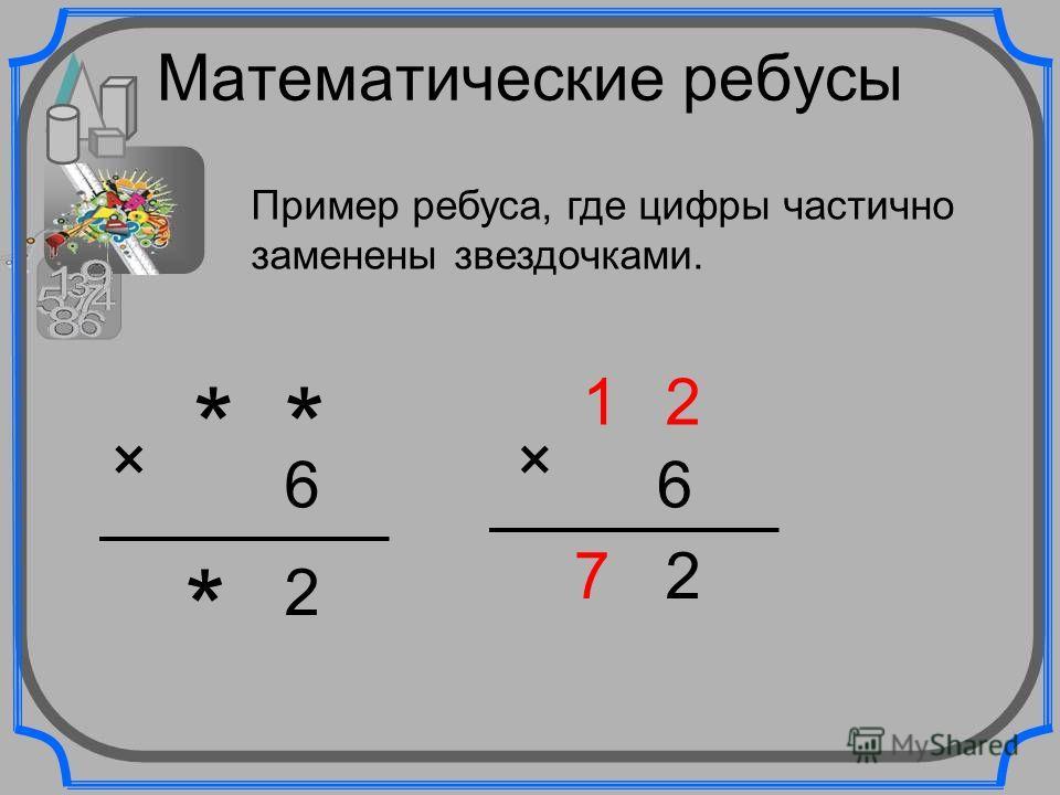 Математические ребусы Пример ребуса, где цифры частично заменены звездочками. ** 6 2 * × 12 6 27 ×