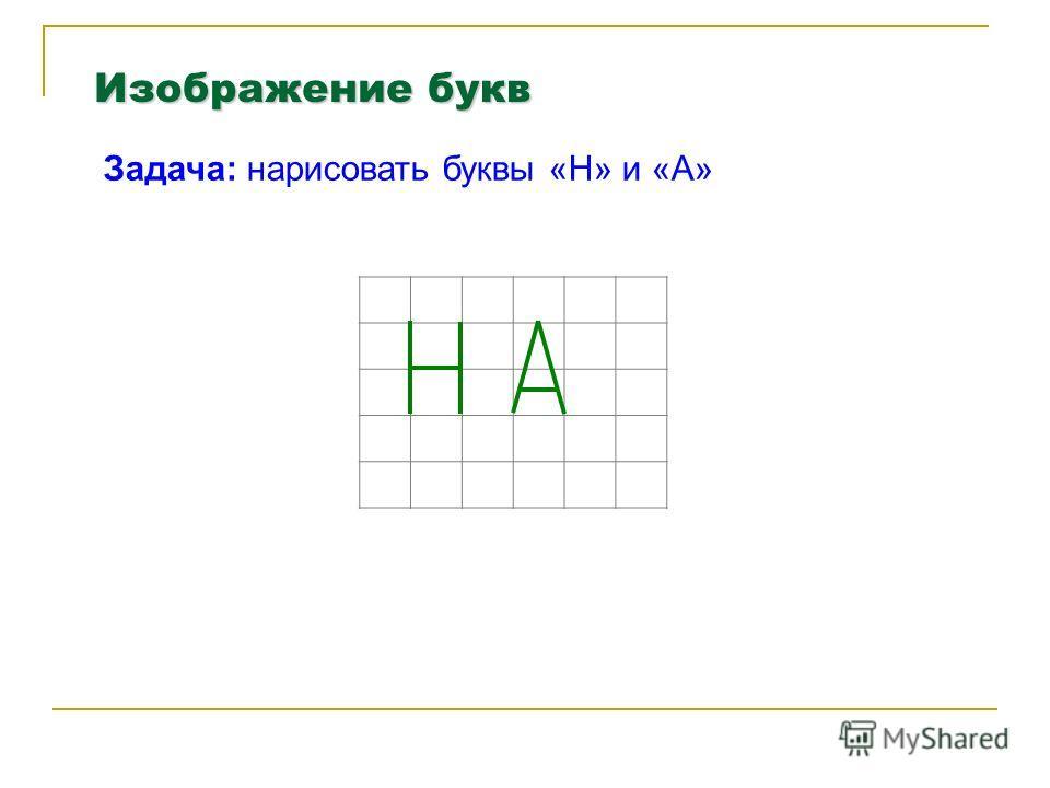 Изображение букв Задача: нарисовать буквы «Н» и «А»