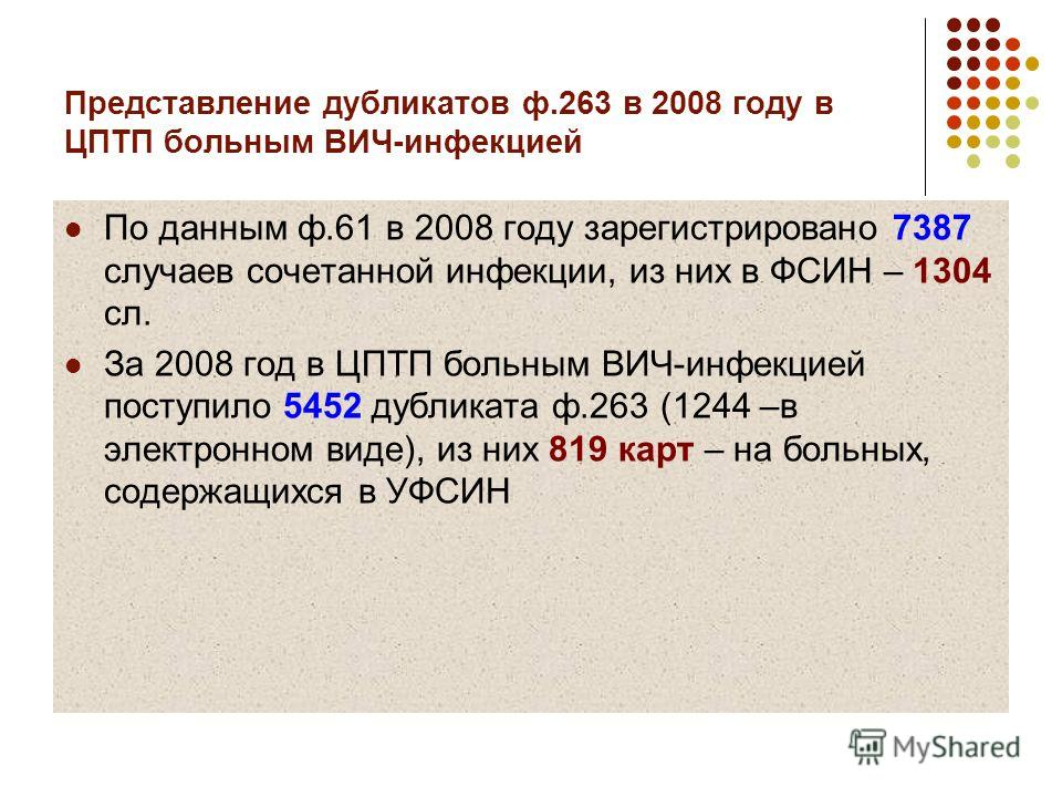 Представление дубликатов ф.263 в 2008 году в ЦПТП больным ВИЧ-инфекцией По данным ф.61 в 2008 году зарегистрировано 7387 случаев сочетанной инфекции, из них в ФСИН – 1304 сл. За 2008 год в ЦПТП больным ВИЧ-инфекцией поступило 5452 дубликата ф.263 (12