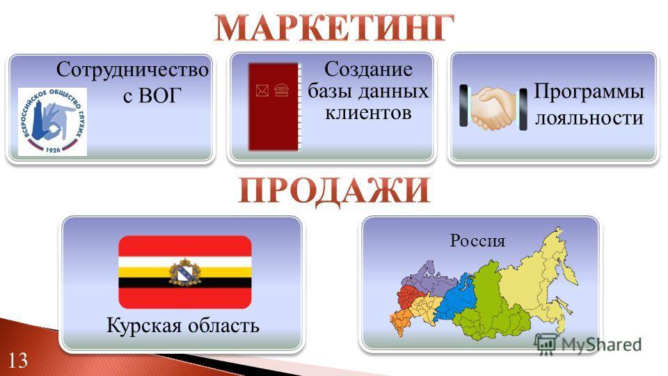 Россия Программы лояльности Курская область 13 Сотрудничество с ВОГ Создание базы данных клиентов