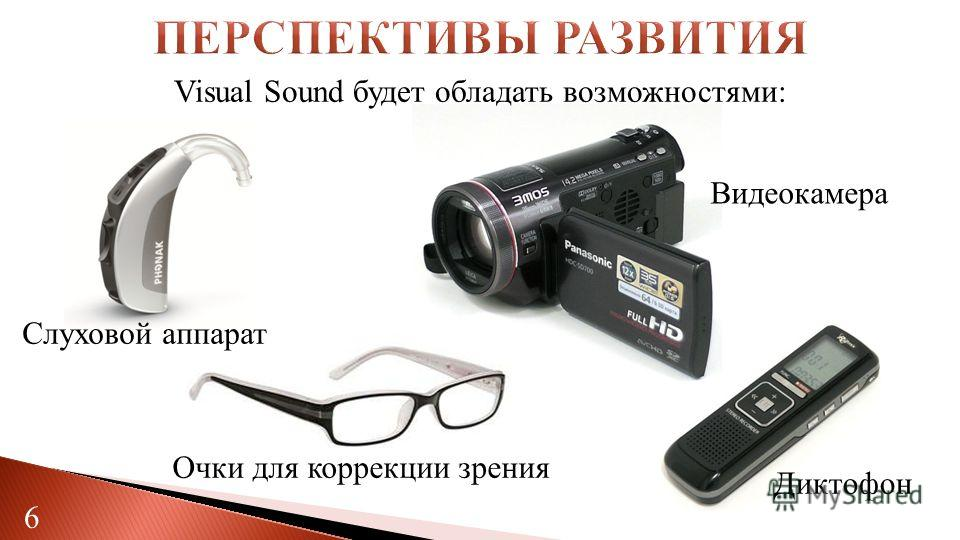 Слуховой аппарат Видеокамера Диктофон 6 Visual Sound будет обладать возможностями: