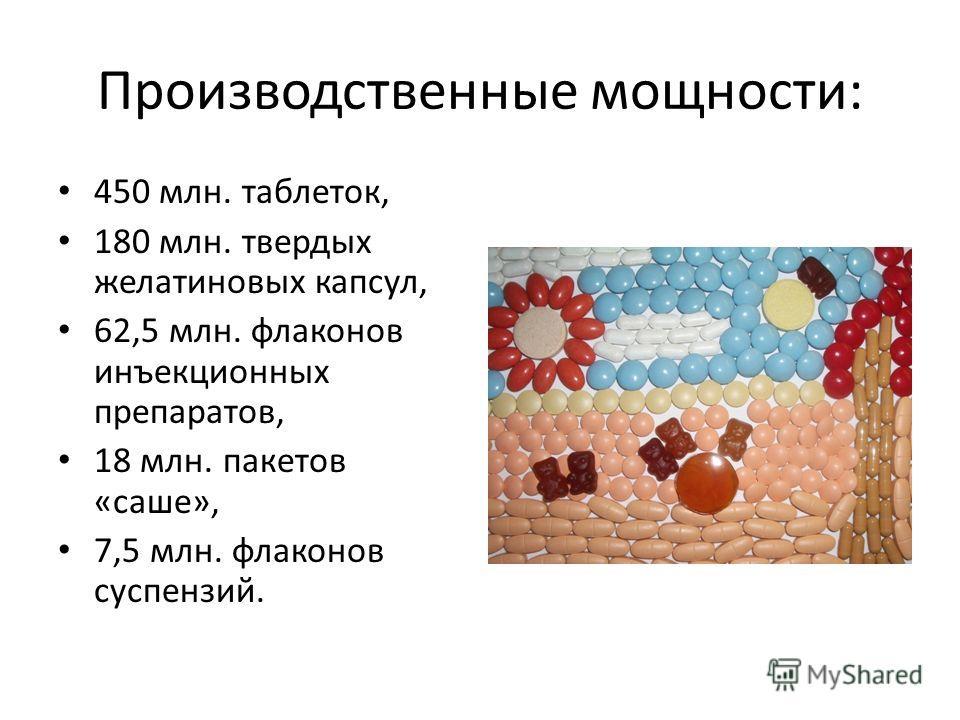 Производственные мощности: 450 млн. таблеток, 180 млн. твердых желатиновых капсул, 62,5 млн. флаконов инъекционных препаратов, 18 млн. пакетов «саше», 7,5 млн. флаконов суспензий.