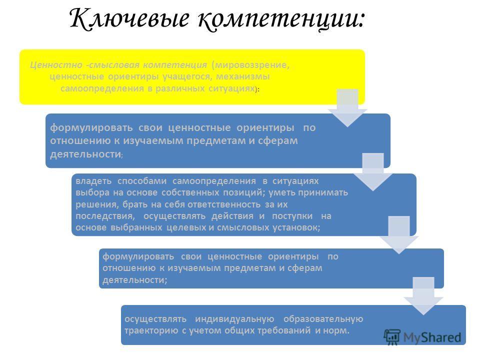 Ключевые компетенции: Ценностно -смысловая компетенция (мировоззрение, ценностные ориентиры учащегося, механизмы самоопределения в различных ситуациях ): формулировать свои ценностные ориентиры по отношению к изучаемым предметам и сферам деятельности
