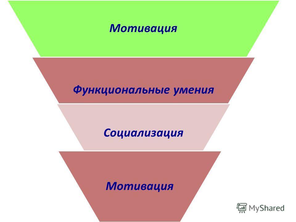 Мотивация Функциональные умения Социализация Мотивация