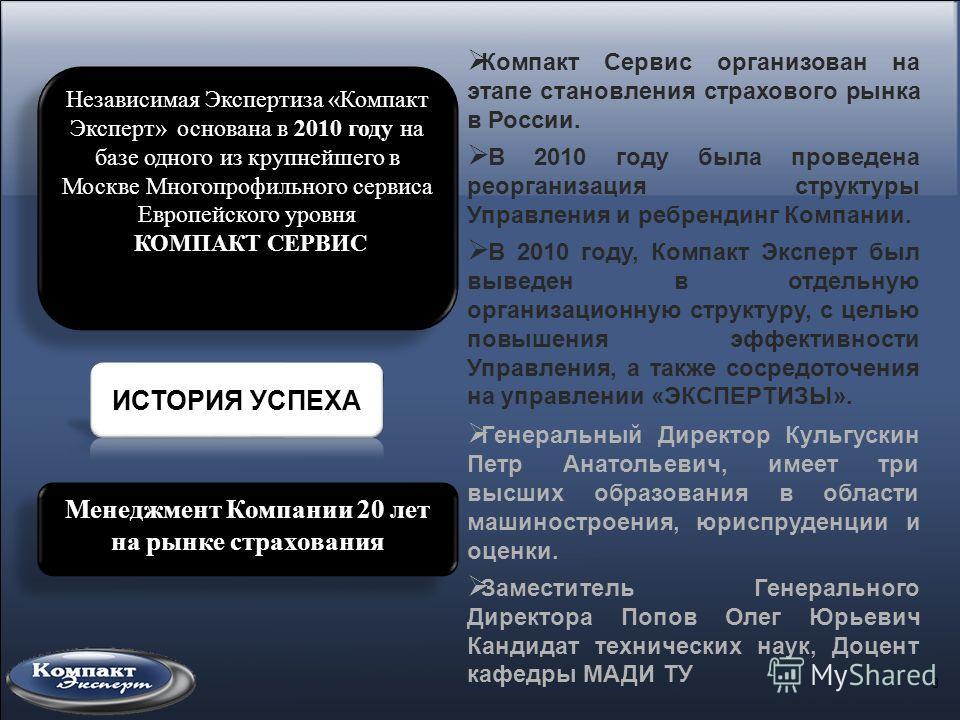 3 Независимая Экспертиза «Компакт Эксперт» основана в 2010 году на базе одного из крупнейшего в Москве Многопрофильного сервиса Европейского уровня КОМПАКТ СЕРВИС Независимая Экспертиза «Компакт Эксперт» основана в 2010 году на базе одного из крупней