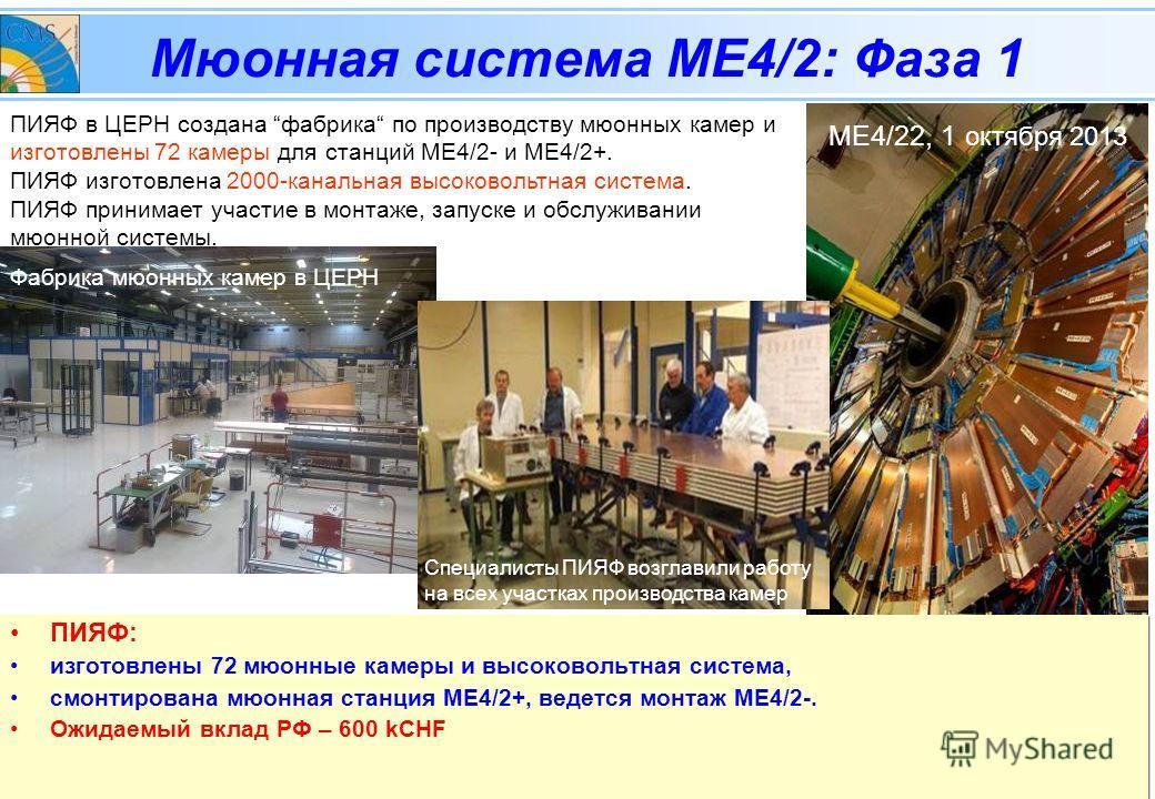 CMSЗаседание Рабочей группы по направлению сотрудничества с ЦЕРН, 05 февраля 2014 Мюонная система МЕ4/2: Фаза 1 ПИЯФ: изготовлены 72 мюонные камеры и высоковольтная система, смонтирована мюонная станция МЕ4/2+, ведется монтаж МЕ4/2-. Ожидаемый вклад