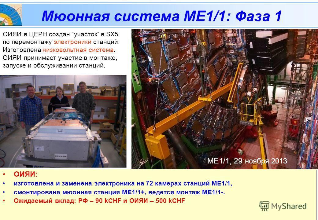 CMSЗаседание Рабочей группы по направлению сотрудничества с ЦЕРН, 05 февраля 2014 Мюонная система МЕ1/1: Фаза 1 ОИЯИ: изготовлена и заменена электроника на 72 камерах станций МЕ1/1, смонтирована мюонная станция МЕ1/1+, ведется монтаж МЕ1/1-. Ожидаемы