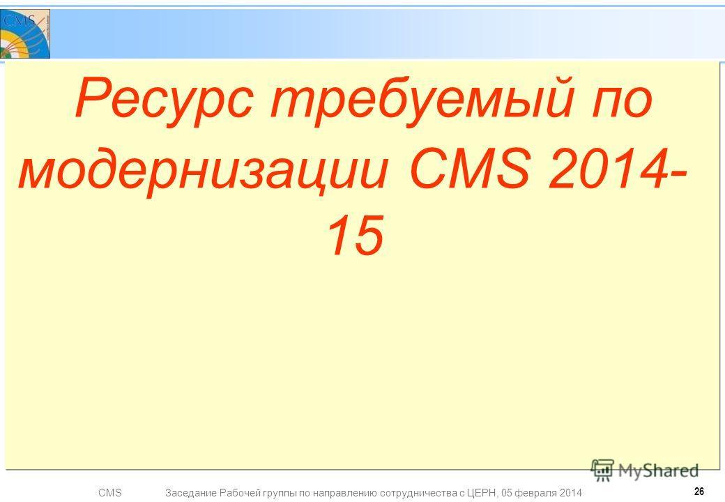 CMSЗаседание Рабочей группы по направлению сотрудничества с ЦЕРН, 05 февраля 2014 Ресурс требуемый по модернизации CMS 2014- 15 26
