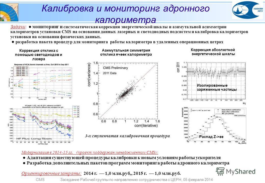 CMSЗаседание Рабочей группы по направлению сотрудничества с ЦЕРН, 05 февраля 2014 Задачи: мониторинг и систематическая коррекция энергетической шкалы и азимутальной асимметрии калориметров установки CMS на основании данных лазерных и светодиодных под