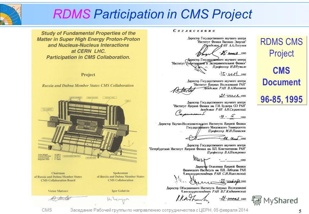 CMSЗаседание Рабочей группы по направлению сотрудничества с ЦЕРН, 05 февраля 2014 5 RDMS Participation in CMS Project RDMS CMS Project CMS Document 96-85, 1995 RDMS CMS Project CMS Document 96-85, 1995