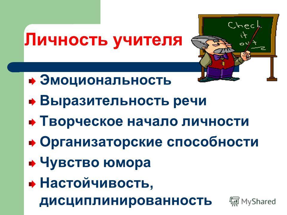 Личность учителя Эмоциональность Выразительность речи Творческое начало личности Организаторские способности Чувство юмора Настойчивость, дисциплинированность