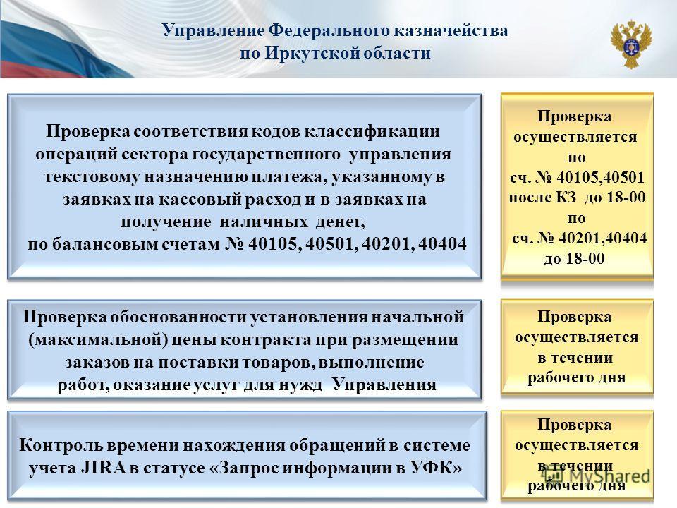 Управление Федерального казначейства по Иркутской области Проверка соответствия кодов классификации операций сектора государственного управления текстовому назначению платежа, указанному в заявках на кассовый расход и в заявках на получение наличных