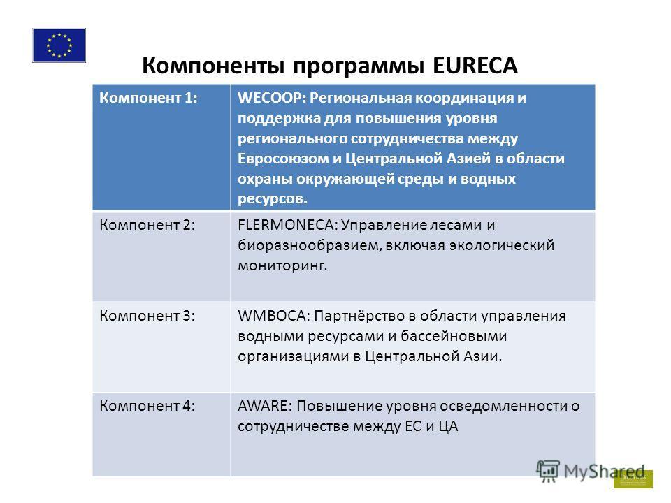 . 2 Компоненты программы EURECA Компонент 1:WECOOP: Региональная координация и поддержка для повышения уровня регионального сотрудничества между Евросоюзом и Центральной Азией в области охраны окружающей среды и водных ресурсов. Компонент 2:FLERMONEC