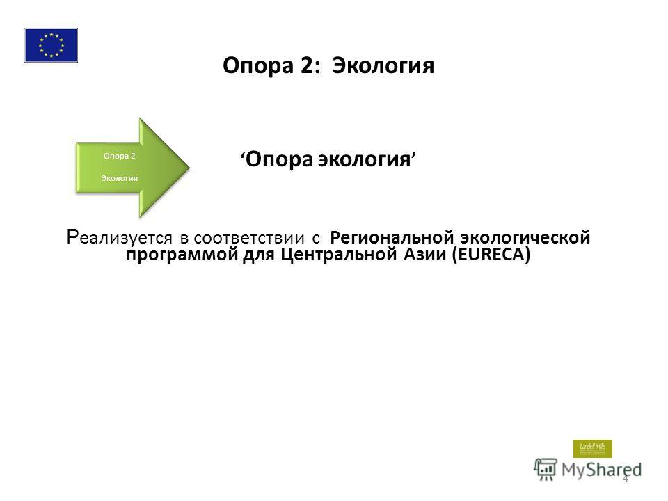 Опора экология Р еализуется в соответствии с Региональной экологической программой для Центральной Азии (EURECA) 4 Опора 2 Экология Опора 2 Экология Опора 2: Экология