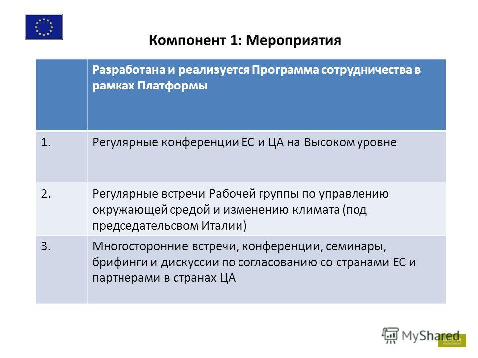 7 Разработана и реализуется Программа сотрудничества в рамках Платформы 1. Регулярные конференции ЕС и ЦА на Высоком уровне 2. Регулярные встречи Рабочей группы по управлению окружающей средой и изменению климата (под председательсвом Италии) 3. Мног