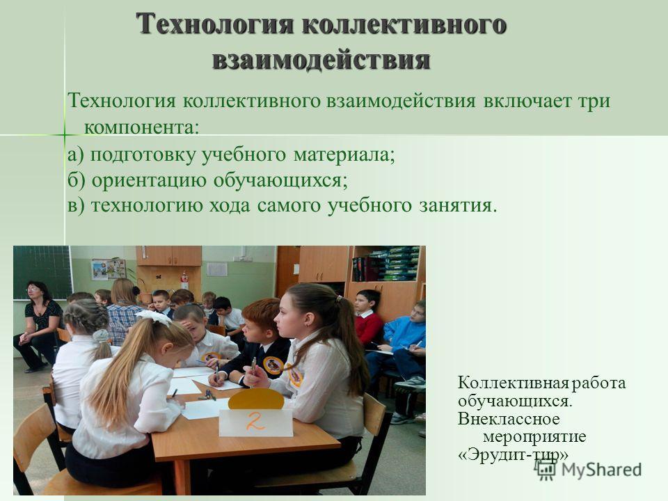 Технология коллективного взаимодействия Технология коллективного взаимодействия включает три компонента: а) подготовку учебного материала; б) ориентацию обучающихся; в) технологию хода самого учебного занятия. Коллективная работа обучающихся. Внеклас