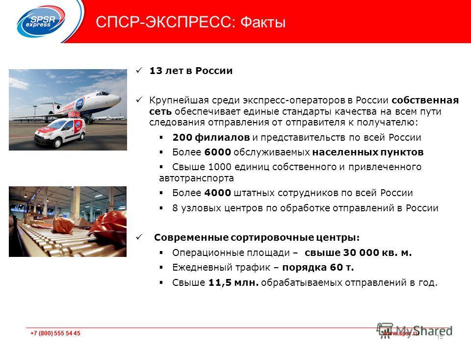 +7 (800) 555 54 45 www.spsr.ru СПСР-ЭКСПРЕСС: Факты 13 лет в России Крупнейшая среди экспресс-операторов в России собственная сеть обеспечивает единые стандарты качества на всем пути следования отправления от отправителя к получателю: 200 филиалов и