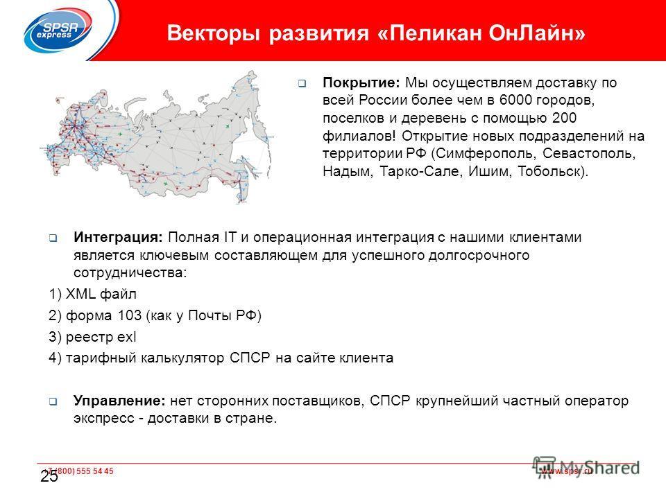+7 (800) 555 54 45 www.spsr.ru Векторы развития «Пеликан Он Лайн» Интеграция: Полная IT и операционная интеграция с нашими клиентами является ключевым составляющем для успешного долгосрочного сотрудничества: 1) XML файл 2) форма 103 (как у Почты РФ)