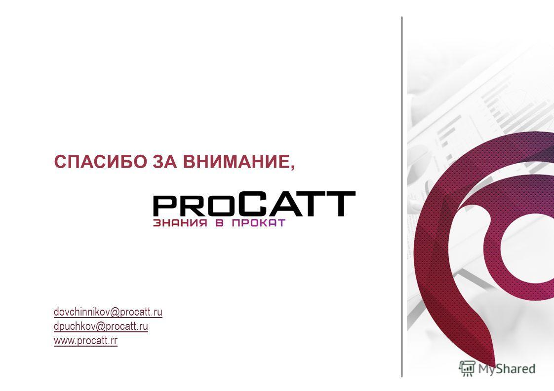 dovchinnikov@procatt.ru dpuchkov@procatt.ru www.procatt.rг СПАСИБО ЗА ВНИМАНИЕ,