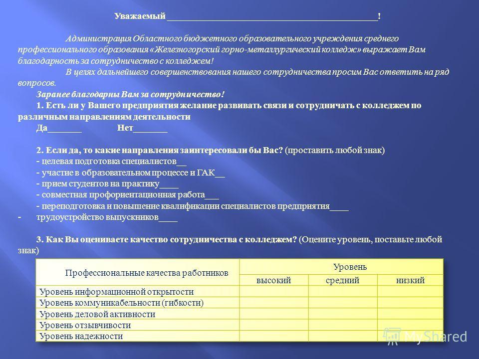 Уважаемый _____________________________________________! Администрация Областного бюджетного образовательного учреждения среднего профессионального образования «Железногорский горно-металлургический колледж» выражает Вам благодарность за сотрудничест