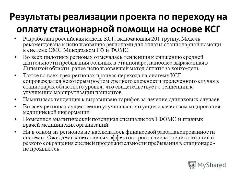 Результаты реализации проекта по переходу на оплату стационарной помощи на основе КСГ Разработана российская модель КСГ, включающая 201 группу. Модель рекомендована к использованию регионами для оплаты стационарной помощи в системе ОМС Минздравом РФ