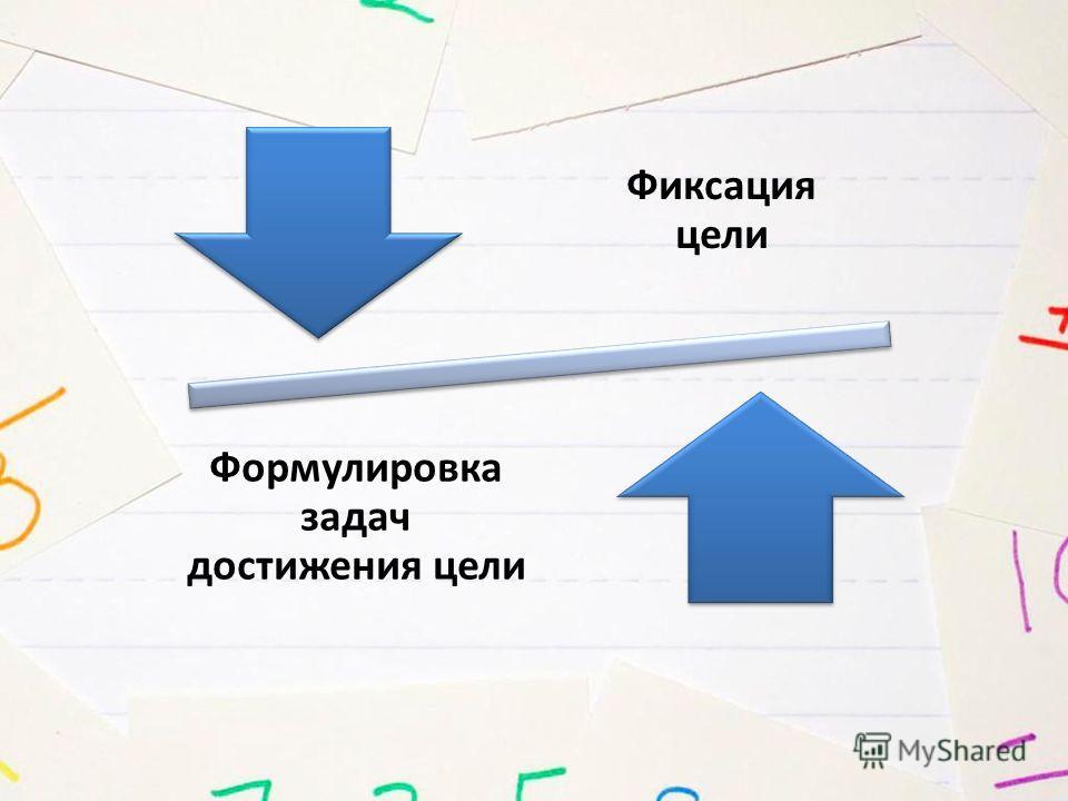 Фиксация цели Формулировка задач достижения цели