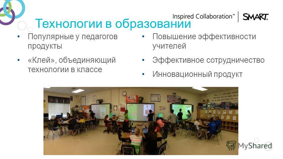Технологии в образовании Популярные у педагогов продукты «Клей», объединяющий технологии в классе Повышение эффективности учителей Эффективное сотрудничество Инновационный продукт