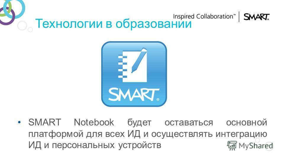 Технологии в образовании SMART Notebook будет оставаться основной платформой для всех ИД и осуществлять интеграцию ИД и персональных устройств