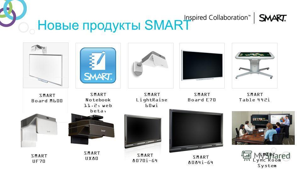 Новые продукты SMART SMART Board M600 SMART Notebook 11.2, web beta, iPad app SMART LightRaise 60wi SMART Board E70 SMART Table 442i SMART UF70 SMART UX80 SMART 8070i-G4 SMART 8084i-G4 SMART Lync Room System