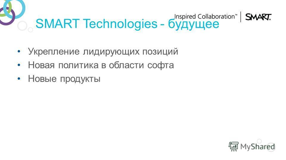 SMART Technologies - будущее Укрепление лидирующих позиций Новая политика в области софта Новые продукты