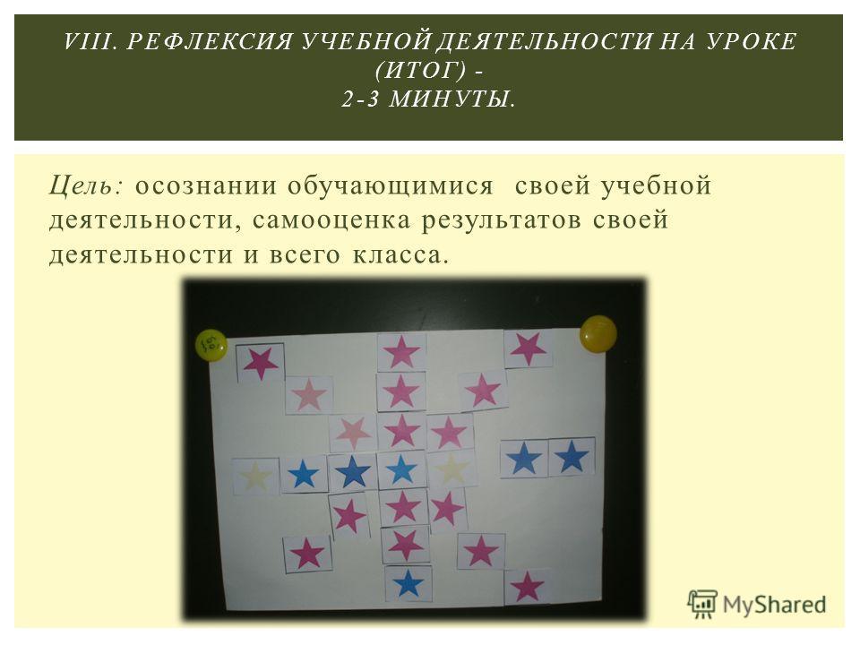 Цель: осознании обучающимися своей учебной деятельности, самооценка результатов своей деятельности и всего класса. VIII. РЕФЛЕКСИЯ УЧЕБНОЙ ДЕЯТЕЛЬНОСТИ НА УРОКЕ (ИТОГ) - 2-3 МИНУТЫ.