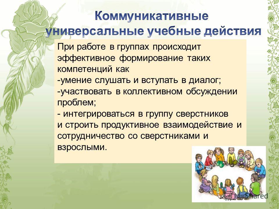 При работе в группах происходит эффективное формирование таких компетенций как -умение слушать и вступать в диалог; -участвовать в коллективном обсуждении проблем; - интегрироваться в группу сверстников и строить продуктивное взаимодействие и сотрудн