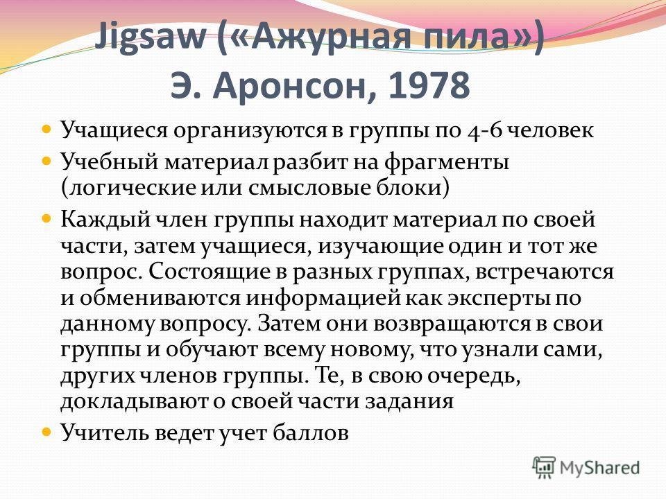 Jigsaw («Ажурная пила») Э. Аронсон, 1978 Учащиеся организуются в группы по 4-6 человек Учебный материал разбит на фрагменты (логические или смысловые блоки) Каждый член группы находит материал по своей части, затем учащиеся, изучающие один и тот же в