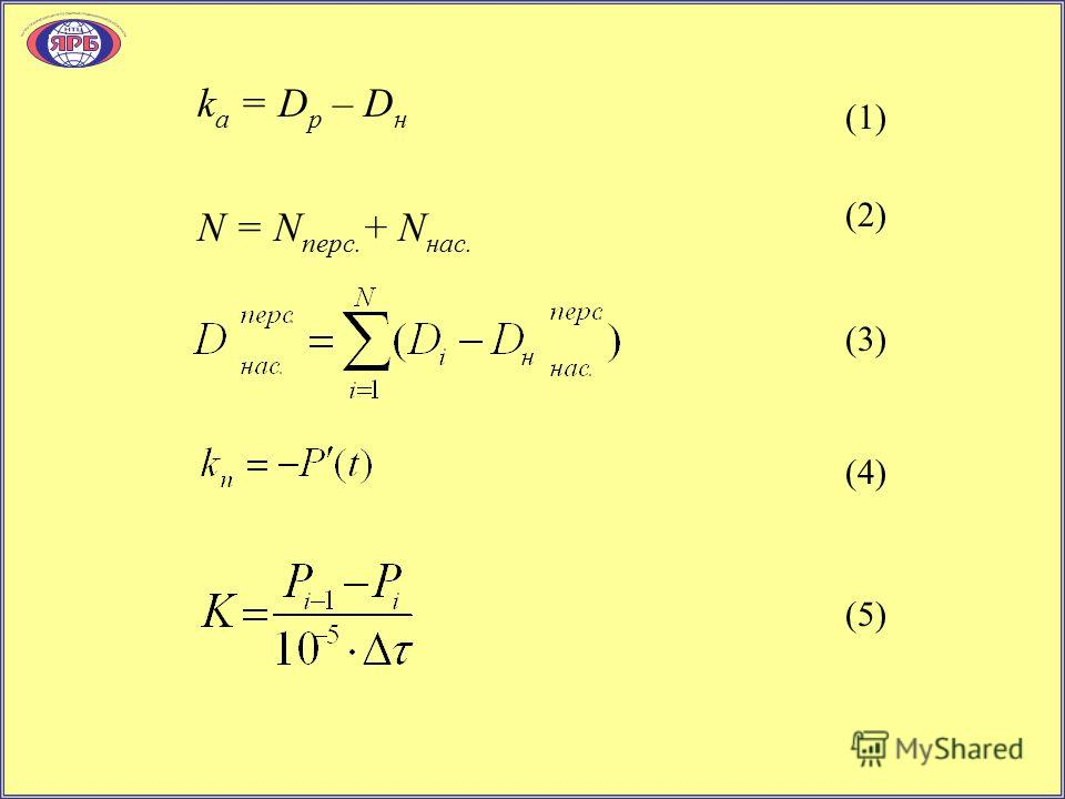 k а = D p – D н N = N перс. + N нас. (2) (1) (3) (4) (5)