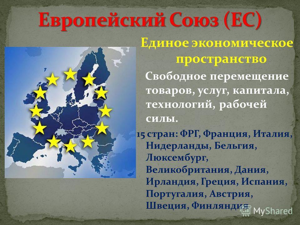 Единое экономическое пространство Свободное перемещение товаров, услуг, капитала, технологий, рабочей силы. 15 стран: ФРГ, Франция, Италия, Нидерланды, Бельгия, Люксембург, Великобритания, Дания, Ирландия, Греция, Испания, Португалия, Австрия, Швеция