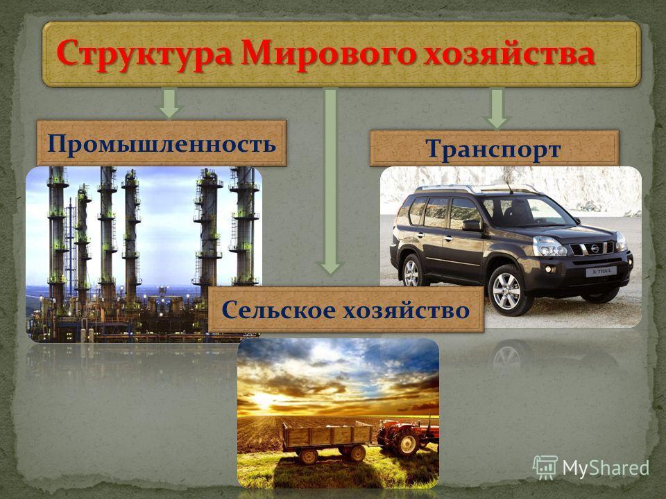 Структура Мирового хозяйства Промышленность Транспорт Сельское хозяйство