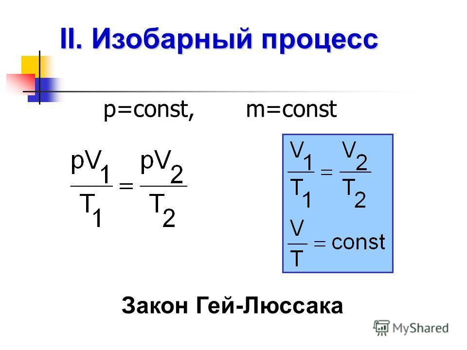 II. Изобарный процесс р=const, m=const Закон Гей-Люссака