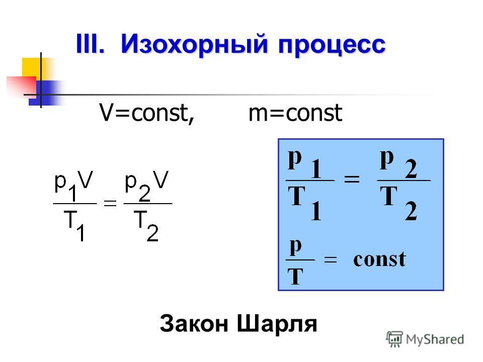III. Изохорный процесс V=const, m=const Закон Шарля