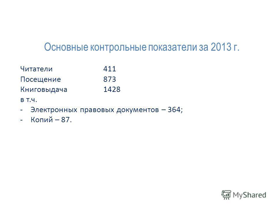 Основные контрольные показатели за 2013 г. Читатели 411 Посещение 873 Книговыдача 1428 в т.ч. -Электронных правовых документов – 364; -Копий – 87.