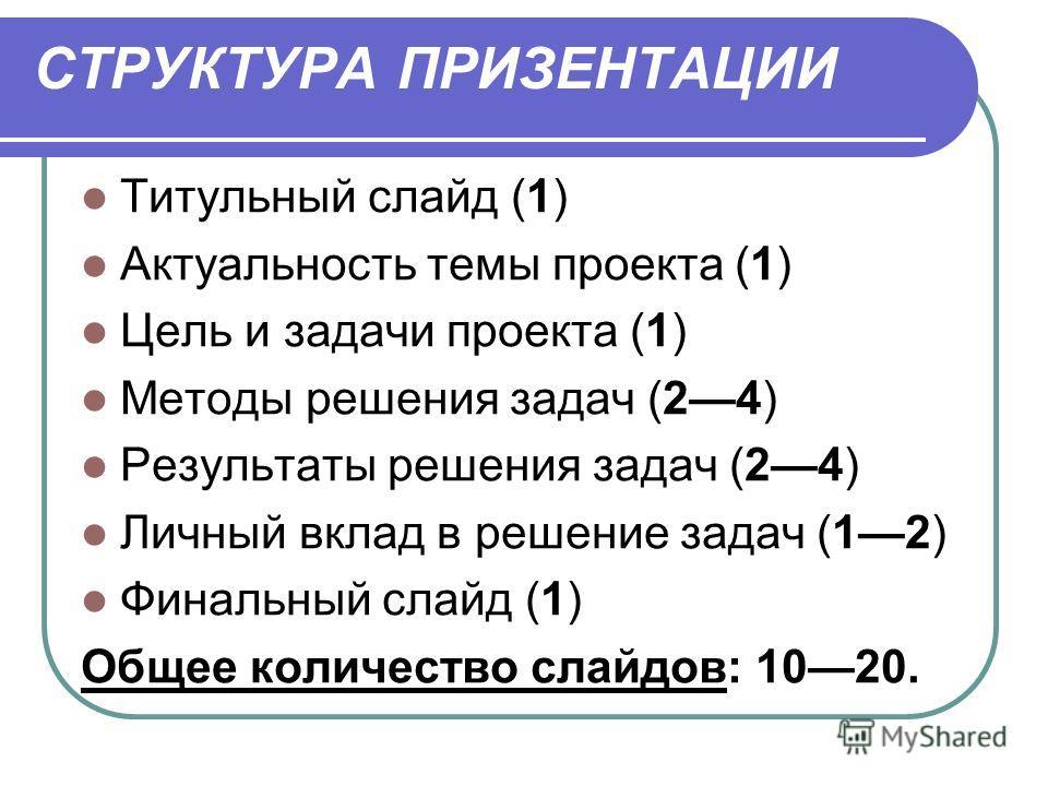 СТРУКТУРА ПРИЗЕНТАЦИИ Титульный слайд (1) Актуальность темы проекта (1) Цель и задачи проекта (1) Методы решения задач (24) Результаты решения задач (24) Личный вклад в решение задач (12) Финальный слайд (1) Общее количество слайдов: 1020.