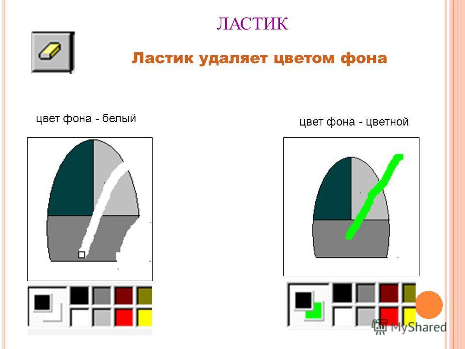 ЛАСТИК Ластик удаляет цветом фона цвет фона - белый цвет фона - цветной