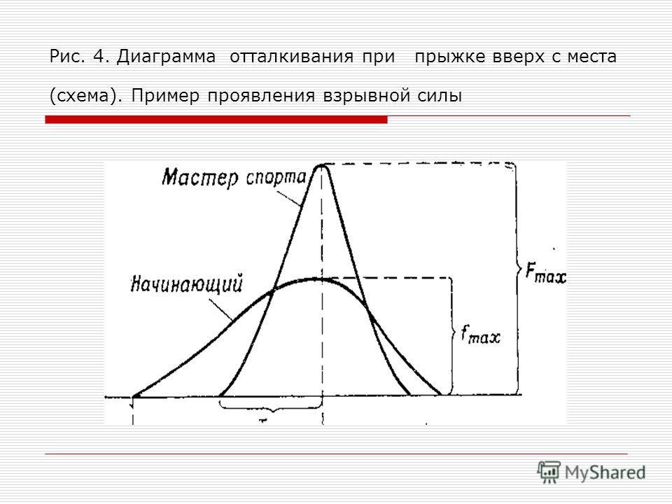 Рис. 4. Диаграмма отталкивания при прыжке вверх с места (схема). Пример проявления взрывной силы