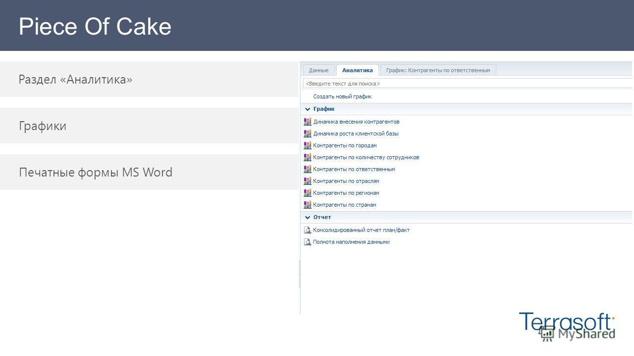 Piece Of Cake Раздел «Аналитика» Графики Печатные формы MS Word