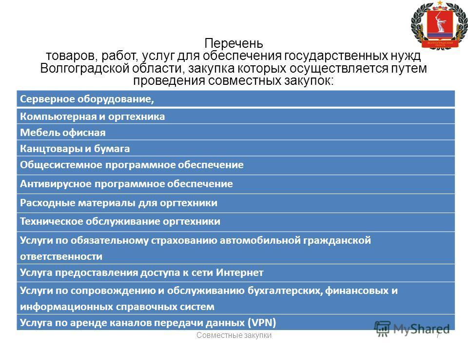 7 Перечень товаров, работ, услуг для обеспечения государственных нужд Волгоградской области, закупка которых осуществляется путем проведения совместных закупок: Серверное оборудование, Компьютерная и оргтехника Мебель офисная Канцтовары и бумага Обще