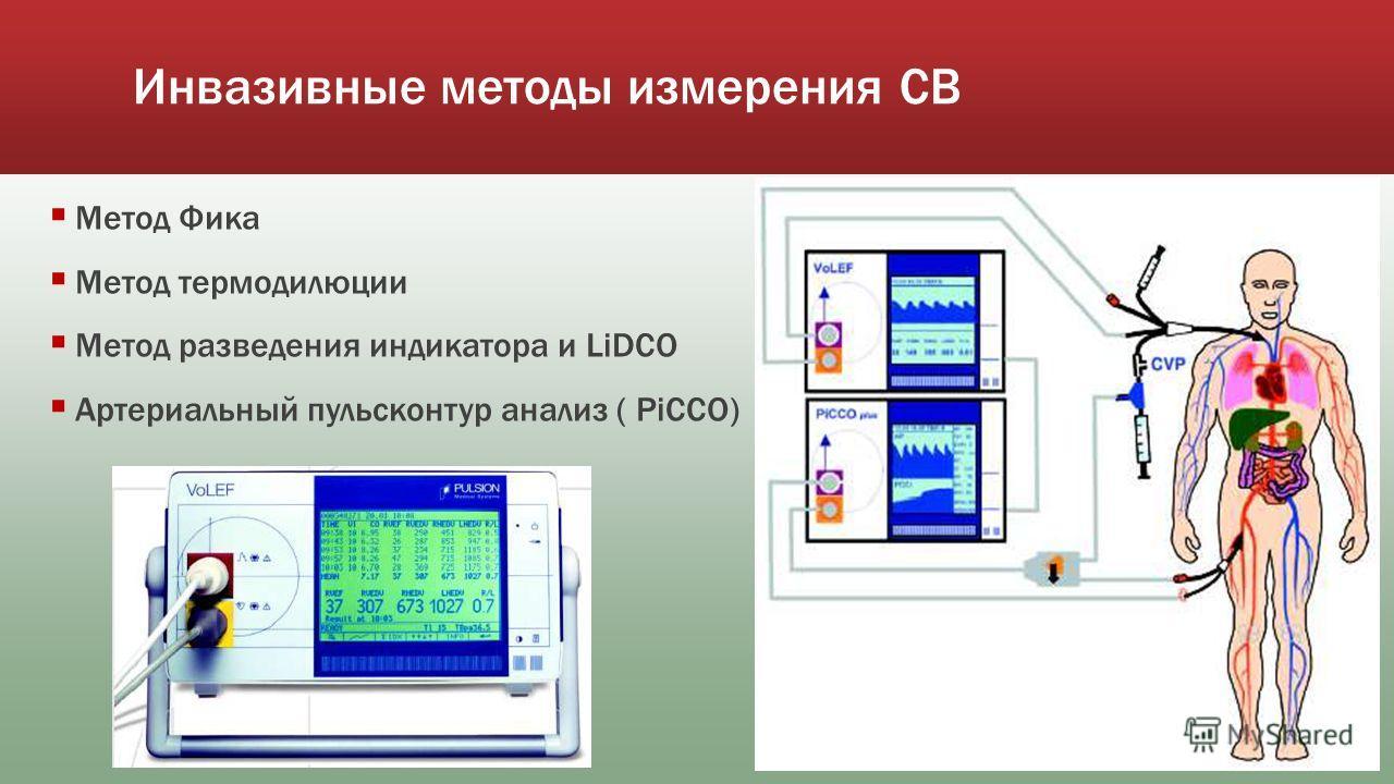 Инвазивные методы измерения СВ Метод Фика Метод термодилюции Метод разведения индикатора и LiDCO Артериальный пульсконтур анализ ( PiCCO)