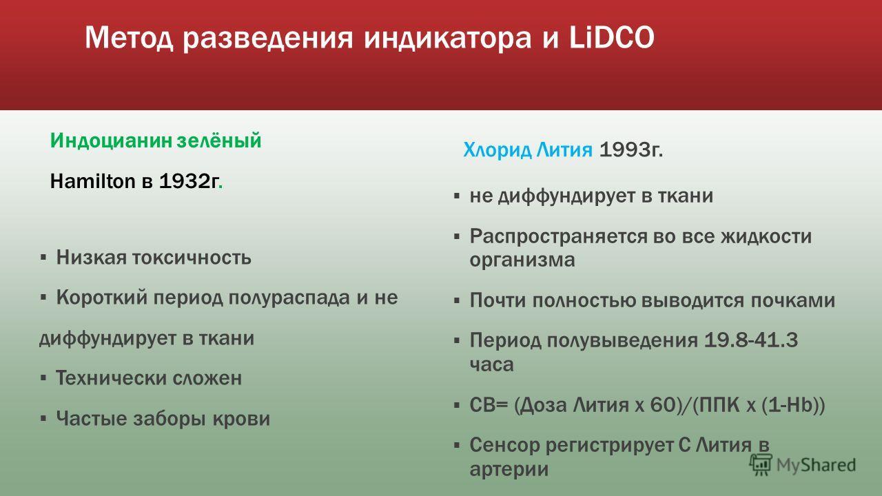 Метод разведения индикатора и LiDCO Индоцианин зелёный Hamilton в 1932 г. Низкая токсичность Короткий период полураспада и не диффундирует в ткани Технически сложен Частые заборы крови Хлорид Лития 1993 г. не диффундирует в ткани Распространяется во
