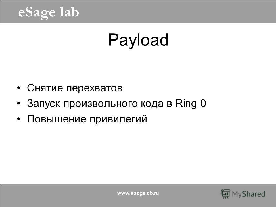 eSage lab www.esagelab.ru Payload Снятие перехватов Запуск произвольного кода в Ring 0 Повышение привилегий