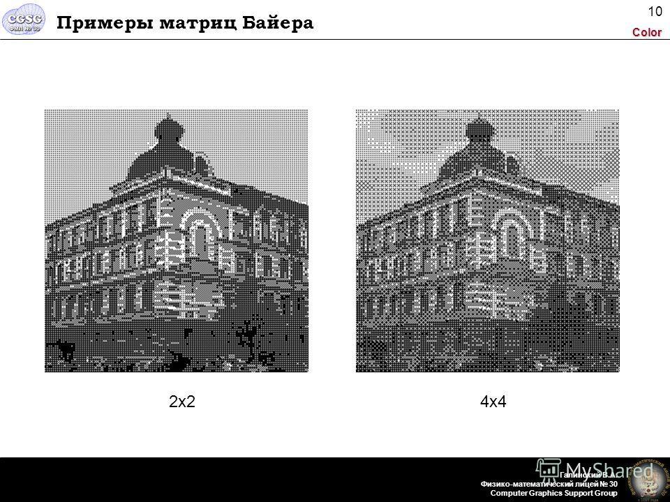 Color Галинский В.А. Физико-математический лицей 30 Computer Graphics Support Group 10 Примеры матриц Байера 2x22x24x4
